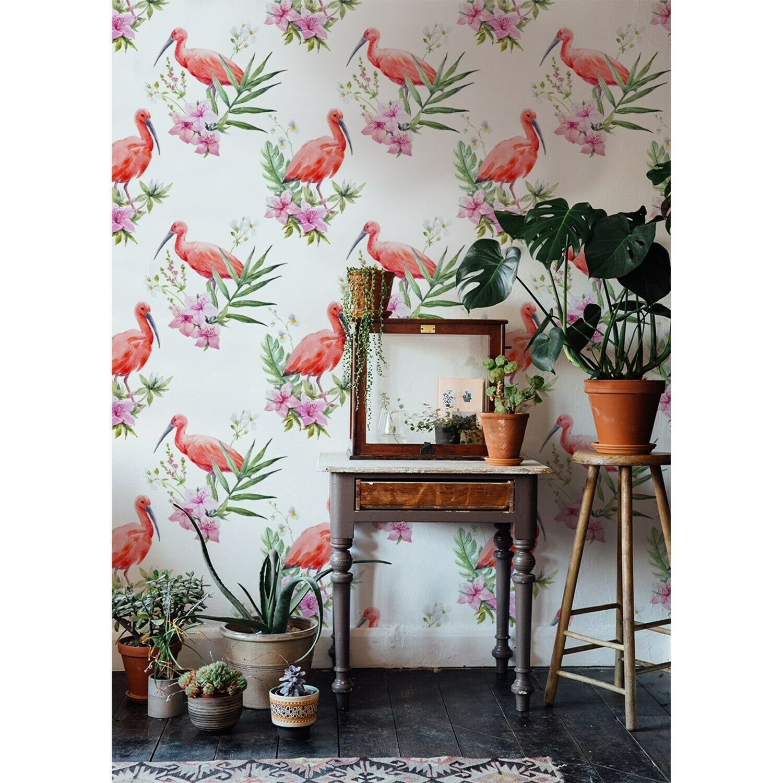 Flamingo wildlife Non-Woven wallpaper Weiß wall Home Mural Traditional Decor