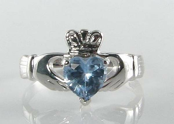 9ct 9K  WHITE gold AQUAMARINE CLADDAGH  HEART ART DECO INS RING FREE RESIZE