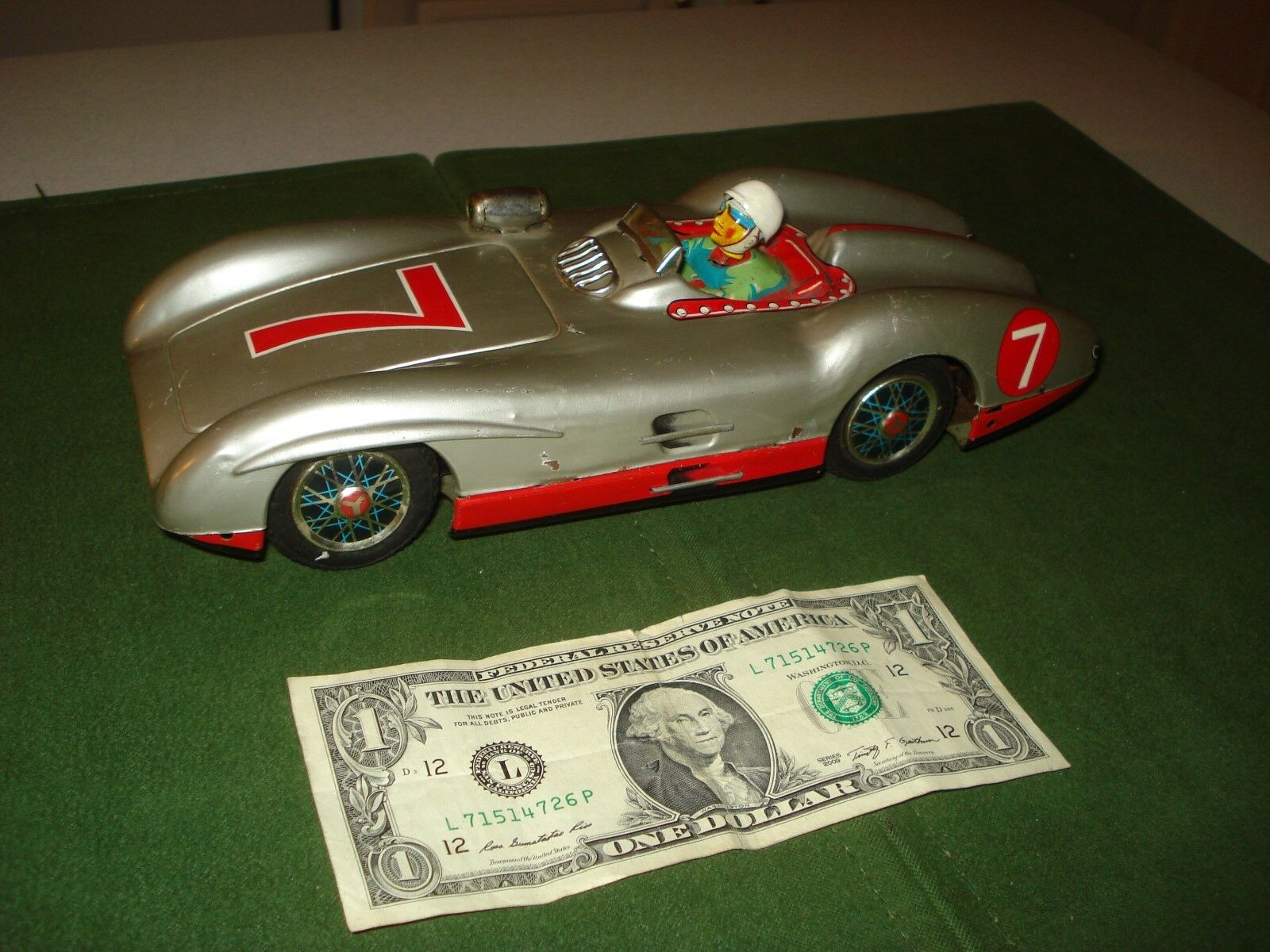 1960's TOY CAR, RACER, RACER, RACER, MADE BY SAN, JAPANESE TIN,  10 INCHES, ALL ORIGINAL b8b088