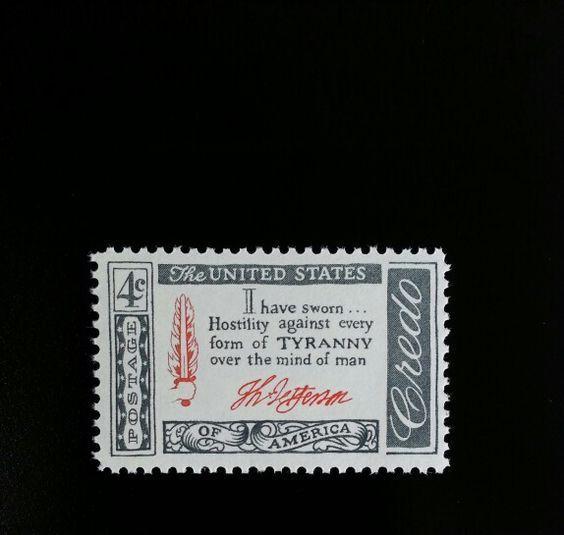 1960 4c Thomas Jefferson Credo, Tyranny Scott 1141 Mint