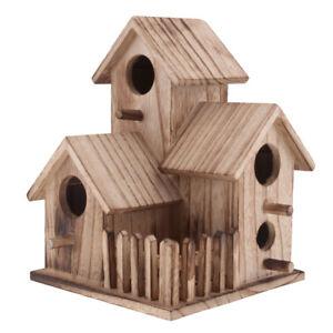 1Pc Bird House Nest Wooden Nest House Bird Box Wood Birdhouse Garden Decor UK