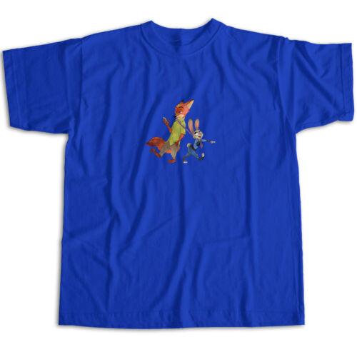 Disney Zootopia Judy Hopps Bunny Rabit Nick Wilde Fox Movie Unisex Tee T-Shirt