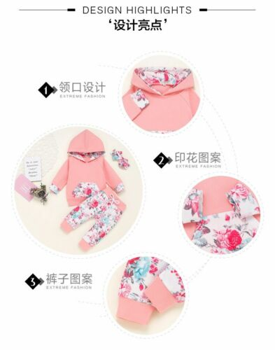 3pcs Newborn Kid Baby Girls Clothes Hooded Tops Pants Floral Outfits Tracksuit