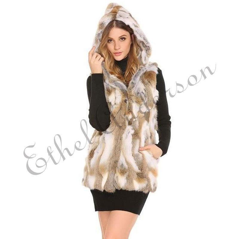 Women's Genuine Rabbit Fur Vest with Cute Hoodie Sleevless Long Outwear