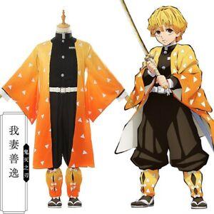 Japan-Kimono-Anime-Kimetsu-no-Yaiba-Zenitsu-Agatsuma-Cosplay-Costumes-Full-Set