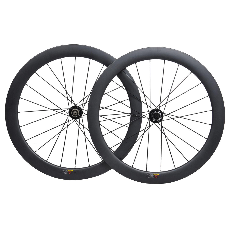 50mm Clincher Carbon Wheelset 700C Road Bike disc brake Rim Matt Tubeless Cycle