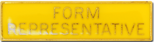 Form Representative Pin Badge in Yellow Enamel With Squarded Edge