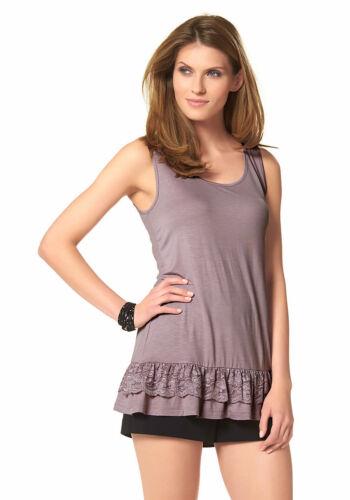 Top 837326 Spitze Shirt Tanktop Longtop Volant ärmellos violett