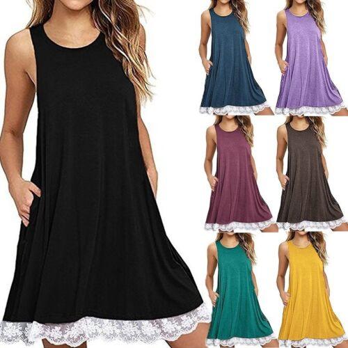 Unifarbe Damenmode Ärmellos Spizte Kleier Sommerkleid Casual Kleider Trägerkleid