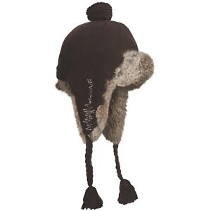 d59ccc733ff MAD BOMBER GIRLY KNIT RABBIT FUR AVIATOR HAT CHOCOLATE BROWN XL NWT ...