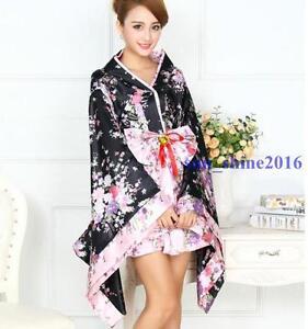 sexy anime cosplay women 39 s short dress retro floral yukata japanese haori kimono ebay. Black Bedroom Furniture Sets. Home Design Ideas