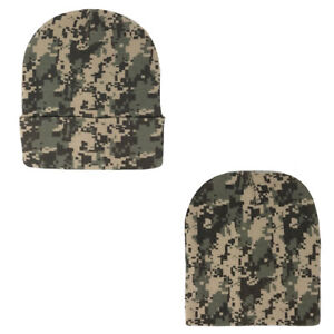 af2145b0a3a50c Details about 1 Dozen Grey Pixel Camo Camouflage Winter Beanies Hats Caps  Wholesale Lot