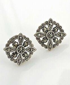 Deco-Style-Marcasite-Sterling-Silver-Petite-Filigree-Post-Earrings-Vintage