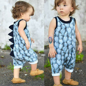 14295a6c4 Infant Baby Girls Boys Summer Dinosaur Horn Romper Jumpsuit Outfits ...
