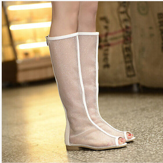 Womens Summer Knee High Mesh Boots Flat Heel Sandals shoes Peep Toe Summer shoes
