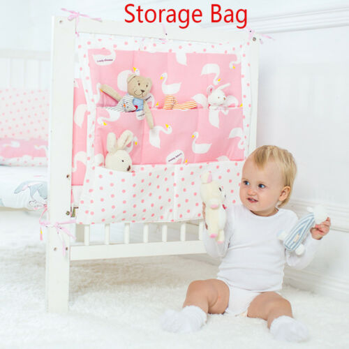 Muslin Bed Hanging Storage Bag Baby Cot Baby Cotton Crib Organizer Bedding Set