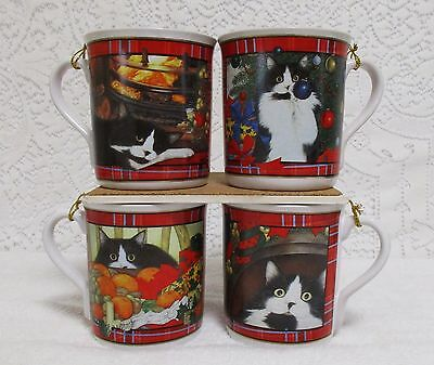 4 Otagiri Kitty Cat Christmas  Mugs Ann Mortimer Artist Tartan Plaid Kitty Cups