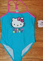 Hello Kitty One Pc Blue Swim Suit Girls Size 4 Polyester/spandex