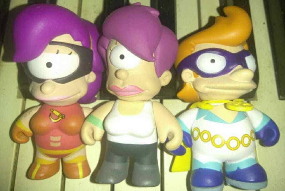 Futurama Kidrobot 3 Toy Lot Leela Fry Clobberella Yesterday Original Series Rare