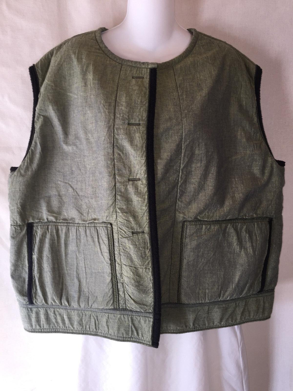 OOAK Handcrafted Fleece Lined Green Cross Cross Cross Weave Vest Warm & Artistic Boho 2X 3X 80e3dc