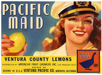 PACIFIC MAID~RARE ORIGINAL 1930s MONTALVO VENTURA CALIFORNIA LEMON CRATE LABEL