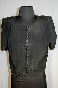 RARE-FRENCH-1940-039-S-WWII-ERA-BLACK-RAYON-CREPE-BLOUSE-SIZE-36-38