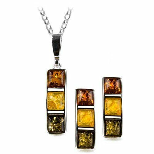 Multicolor Amber Sterling Silver Rectangular Stud Earrings Necklace Set