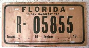 Details about Florida 1974 20-DAY TEMPORARY TAG License Plate # R-05855
