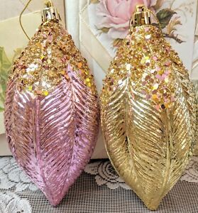Shabby Victorian Cottage Chic Pink Rose Gold Glitter Christmas Ornament Set Of 2 Ebay