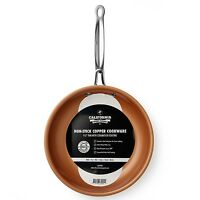 Home Steel 9.5 Round Copper Frying Pan Non Stick Ceramic Titanium Free Shipping