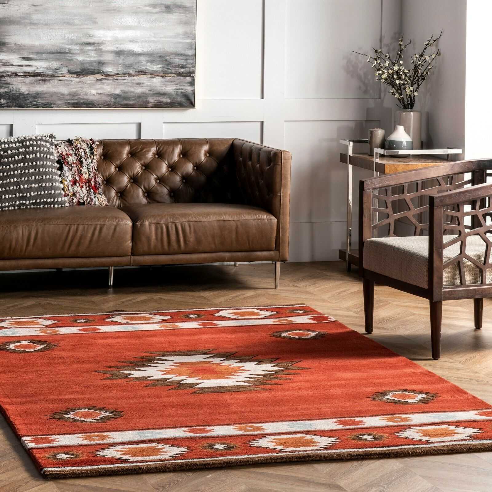 Picture of: Nuloom Handmade Southwestern Geometric Wool Area Rug In Burnt Orange Wine Color For Sale Online