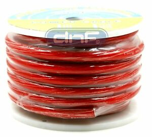 0 Gauge 25 Feet See Through Red Amplifier Power/ Ground Cable - SHIPS FREE TODAY