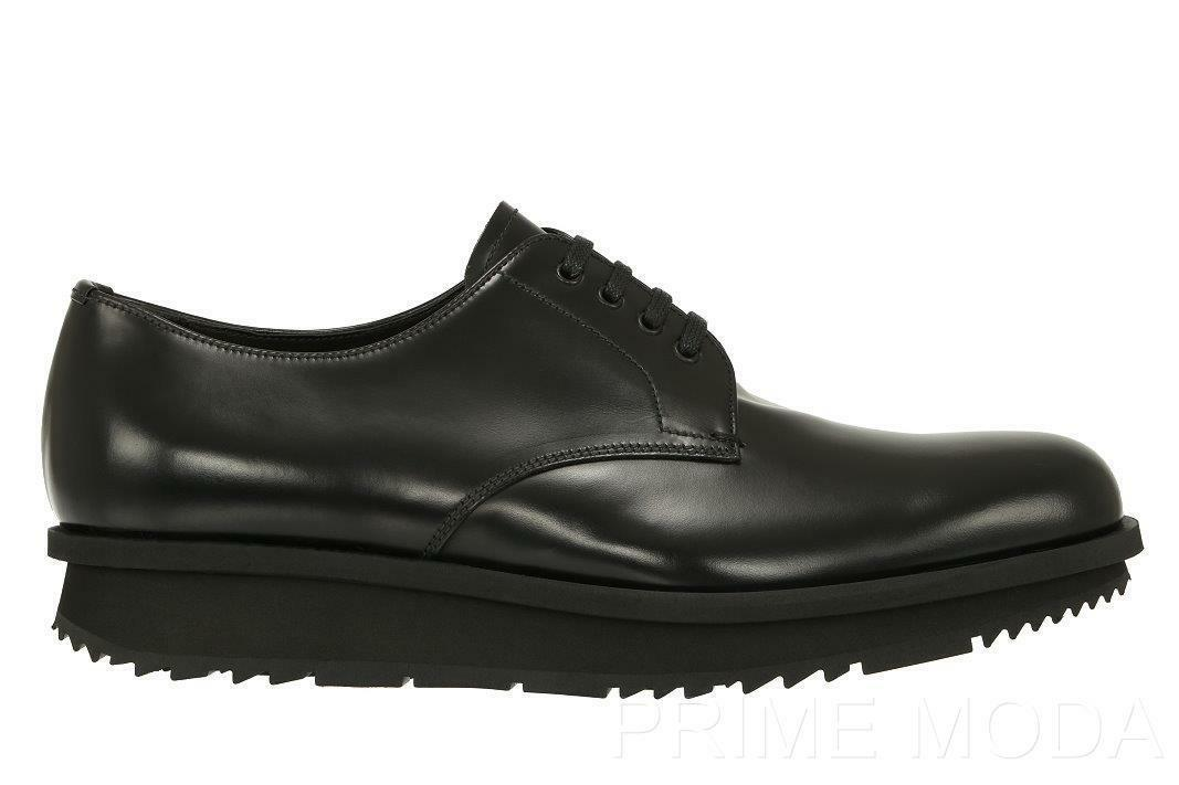 NEW PRADA MILANO CURRENT PLATFORM CASUAL OXFORDS BLACK LEATHER  SHOES 7.5/US 8.5