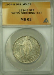 1934-B-Switzerland-Shooting-Festival-Silver-5-Francs-Coin-ANACS-MS-62-Proof-Like