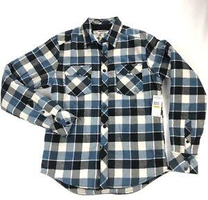 NWT-Fox-Racing-Claude-Sherpa-Fleece-Lined-Flannel-Mens-Medium-Blue-Plaid-Shirt