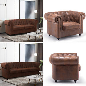 Coffee Chesterfield Sofa In Distressed