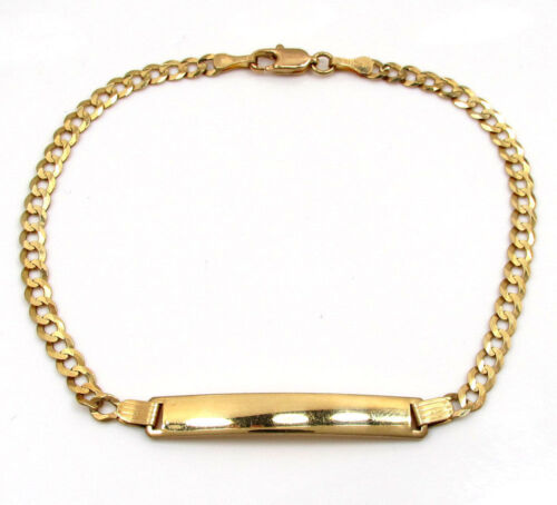"""Details about  /2.50Gr  5.5/"""" Baby//Children 10k Yellow Real Gold Solid Cuban Curb ID Bracelet"""