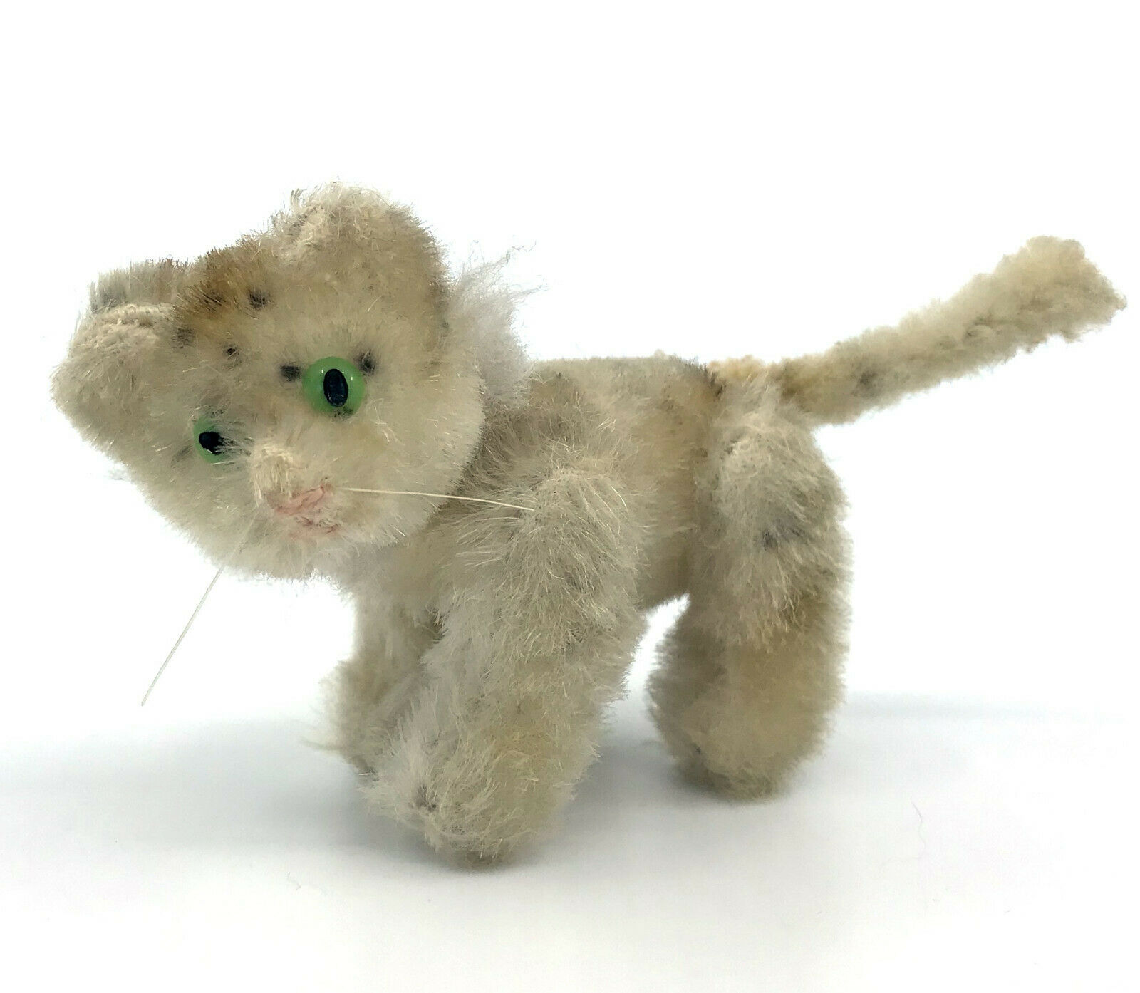 Schuco Noahs Ark Tiger Mohair Plush over Metal 1950s 5cm 2in Jointed Vintage
