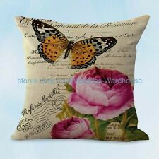 US SELLER, living room pillows vintage rose butterfly cushion cover