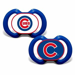 Chicago Cubs Pacifiers 2 Pack Set Infant Baby Fanatic BPA Free MLB Hologram NWT