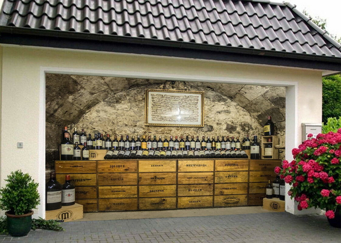 3D Wines Bottle 5 Garage Door Murals Wall Print Decal Wall AJ WALLPAPER AU Lemon