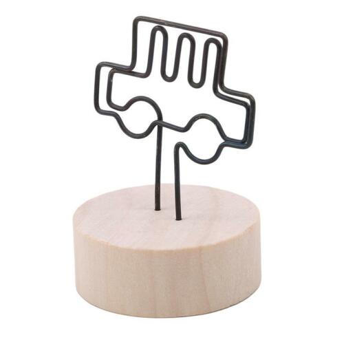 Wedding Place Card Stand Holder Picture Memo Note Photo Name Clip Wood Base LP