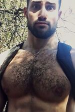 Shirtless Male Muscular Beefcake Hairy Chest Beard Surprise Look PHOTO 4X6 C1706