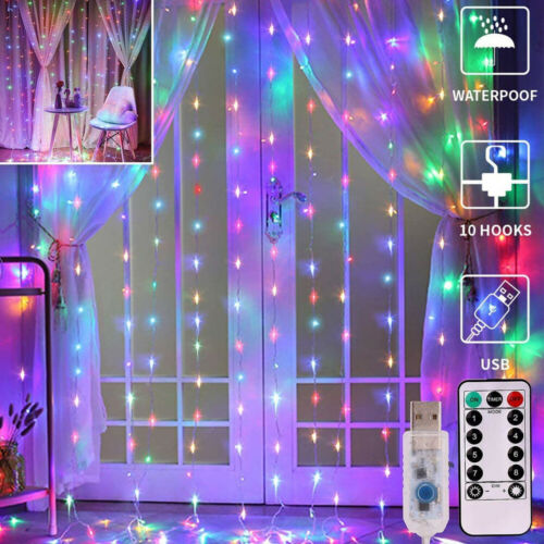 Hanging Window Curtain Lights 9.8 Ft Dimmable 300 LED With Remote Party Decor US