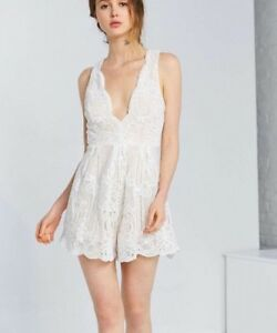 1aee9db787aa Image is loading NEW-Love-Triangle-Lace-Romper-Size-Small-White
