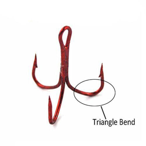 50pcs//box Treble Hooks Set Red High Carbon Steel Fishing Hooks Size 2# 4# 6#