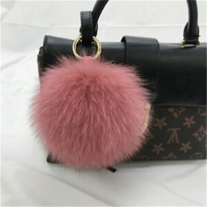 "15cm//6/"" Real Fox Fur Ball Pompom Keychain Keyring Bag Phone Pendent Accessory"