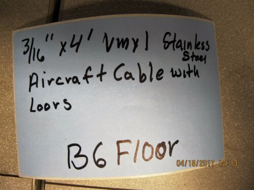 """Wire Rope 3//16/"""" X 4' Vinyl Coated Aircraft Cable B6FL Security With Loops"""