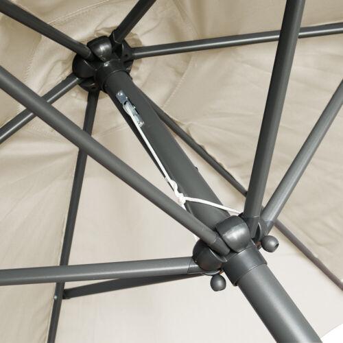 Aluminium 2.5M Round Garden Parasol Umbrella Patio Sun Shade Crank Tilt Cream