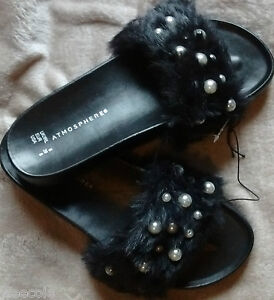 PRIMARK-ATMOSPHERE-BLACK-FAUX-FUR-PEARL-POOL-BEACH-SLIDERS-SOLD-OUT